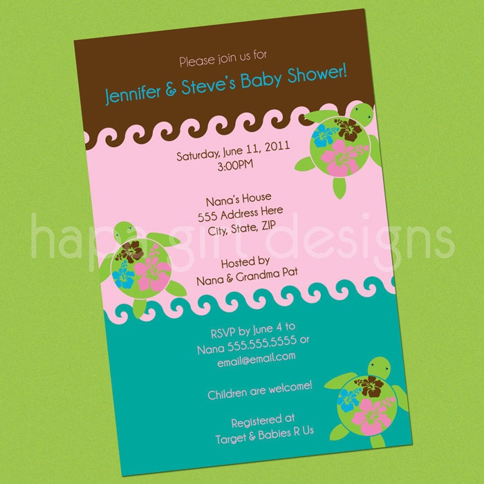 diy invitation swimming sea turtles pink baby shower or birthday