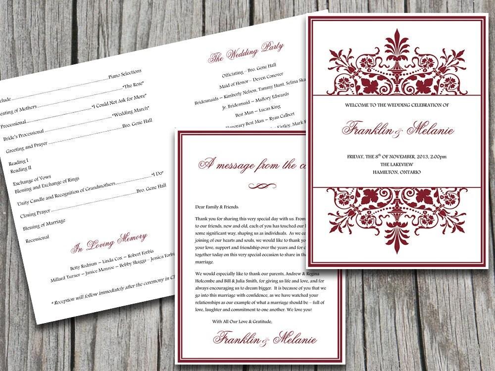 half fold wedding program template ornate by