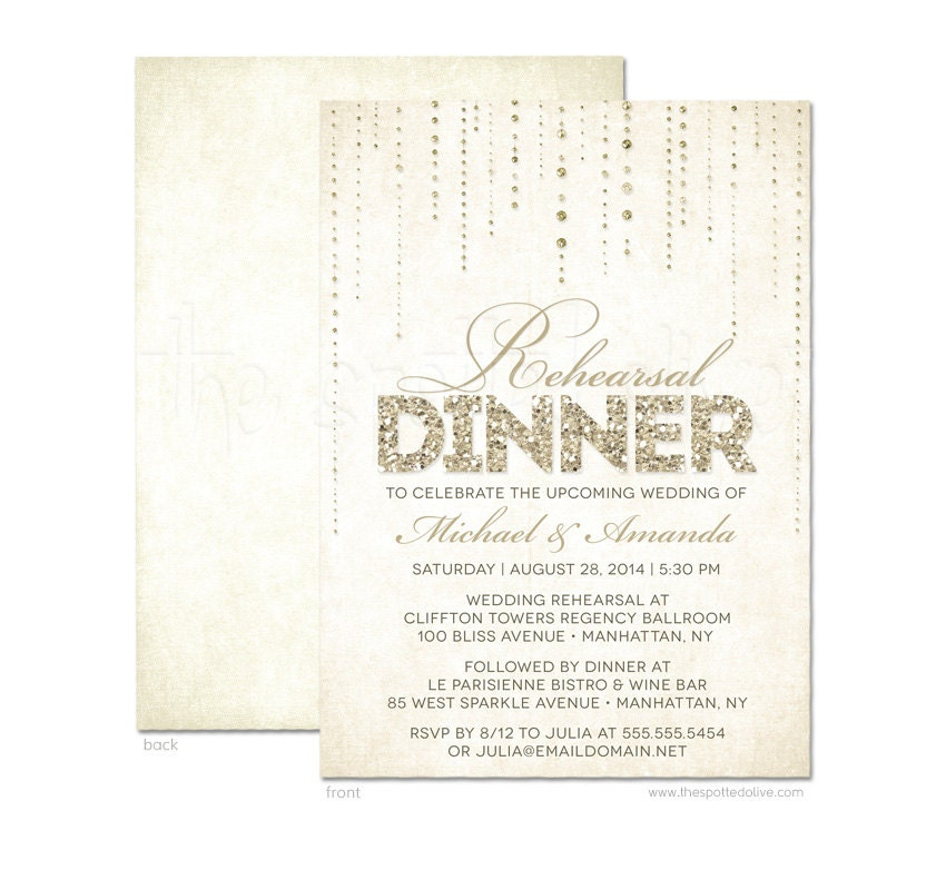 Wedding Rehearsal Dinner Invitations GLITTER LOOK DIY Printable Or Printe