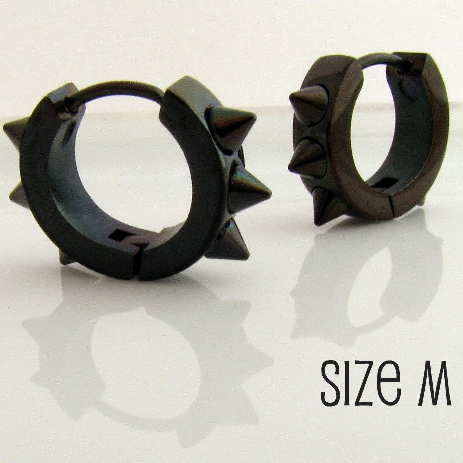Mens Earrings Black Hoop Earrings for Men or Rockers by 360Jewels