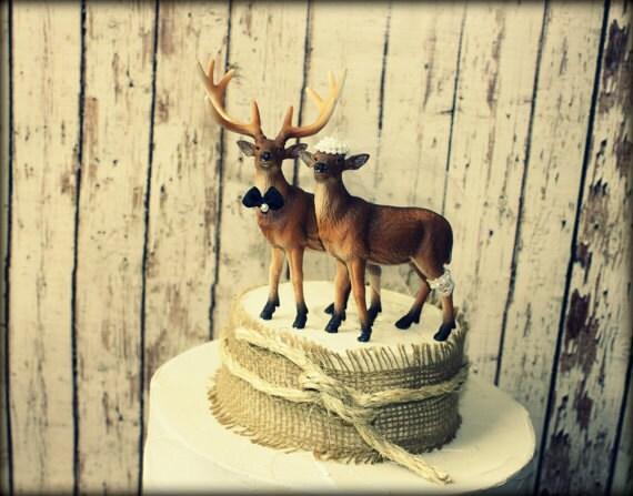 Wedding cake topper hunting cake topper deer wedding rustic wedding