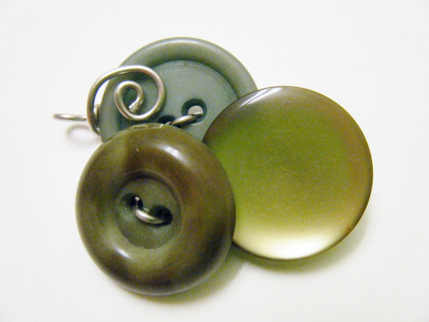 Olive Green Vintage Button Pendant Wire Wrapped - fringeandflourish