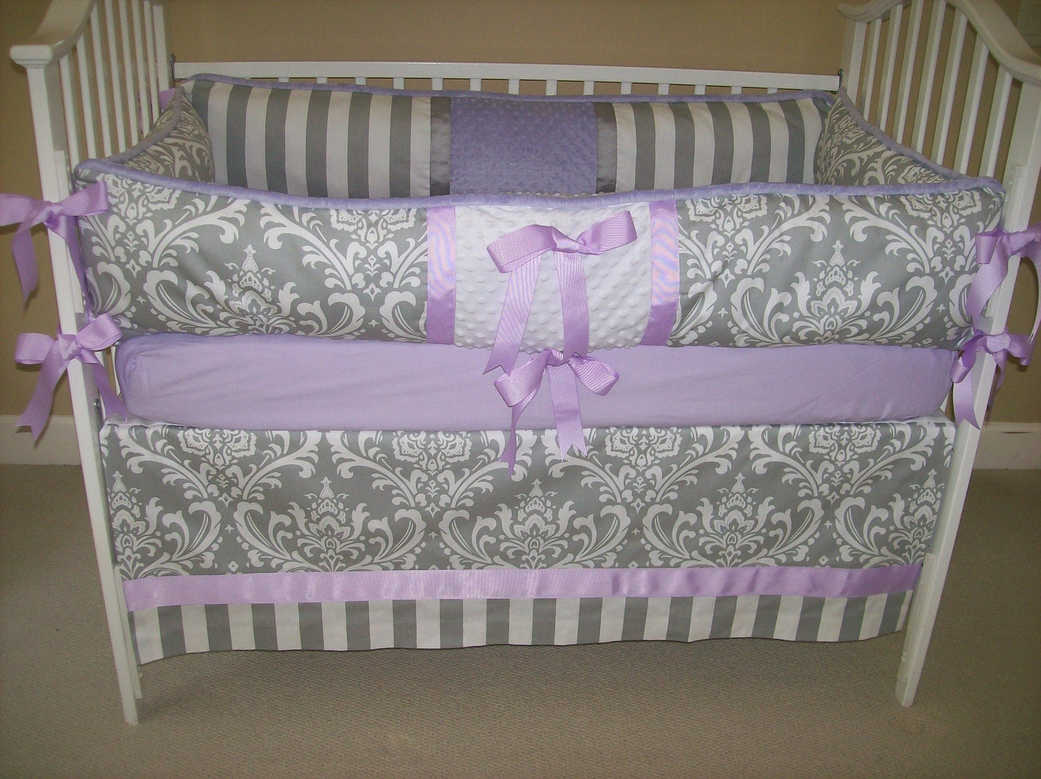 lavender and grey baby bedding 4 piece set by babydesignsbyelm