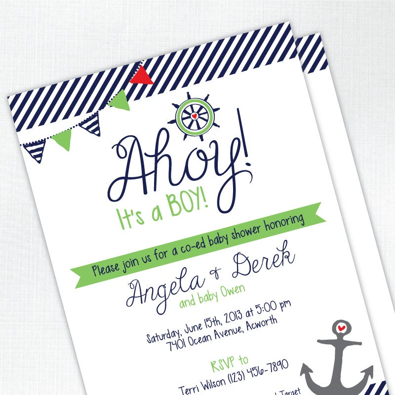 ahoy it 39 s a boy baby shower invitation nautical co ed baby shower