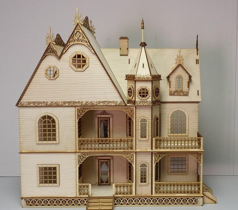 Jasmine Gothic Victorian Dollhouse Half Inch By