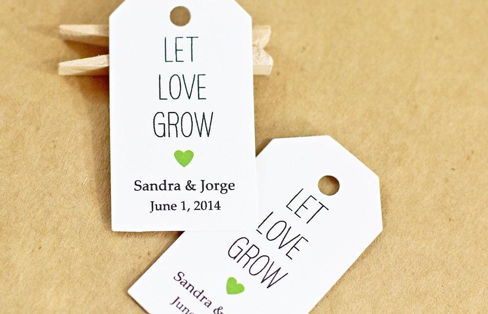 Wedding Favor Tags Pinterest : Wedding Favor TagLet Love Grow, Bridal Shower Favor Tag, Party ...
