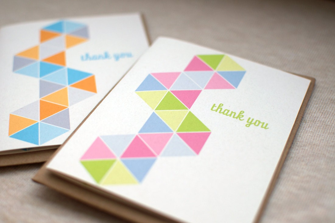 Thank You Cards, Set of 4 - Triangles, Geometric, Greeting