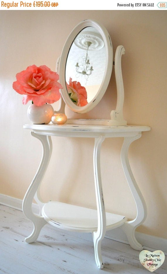 25 Large White Dresser Vanity Console Table  Tilt Mirror French Shabby Chic Dresser Free Local Delivery