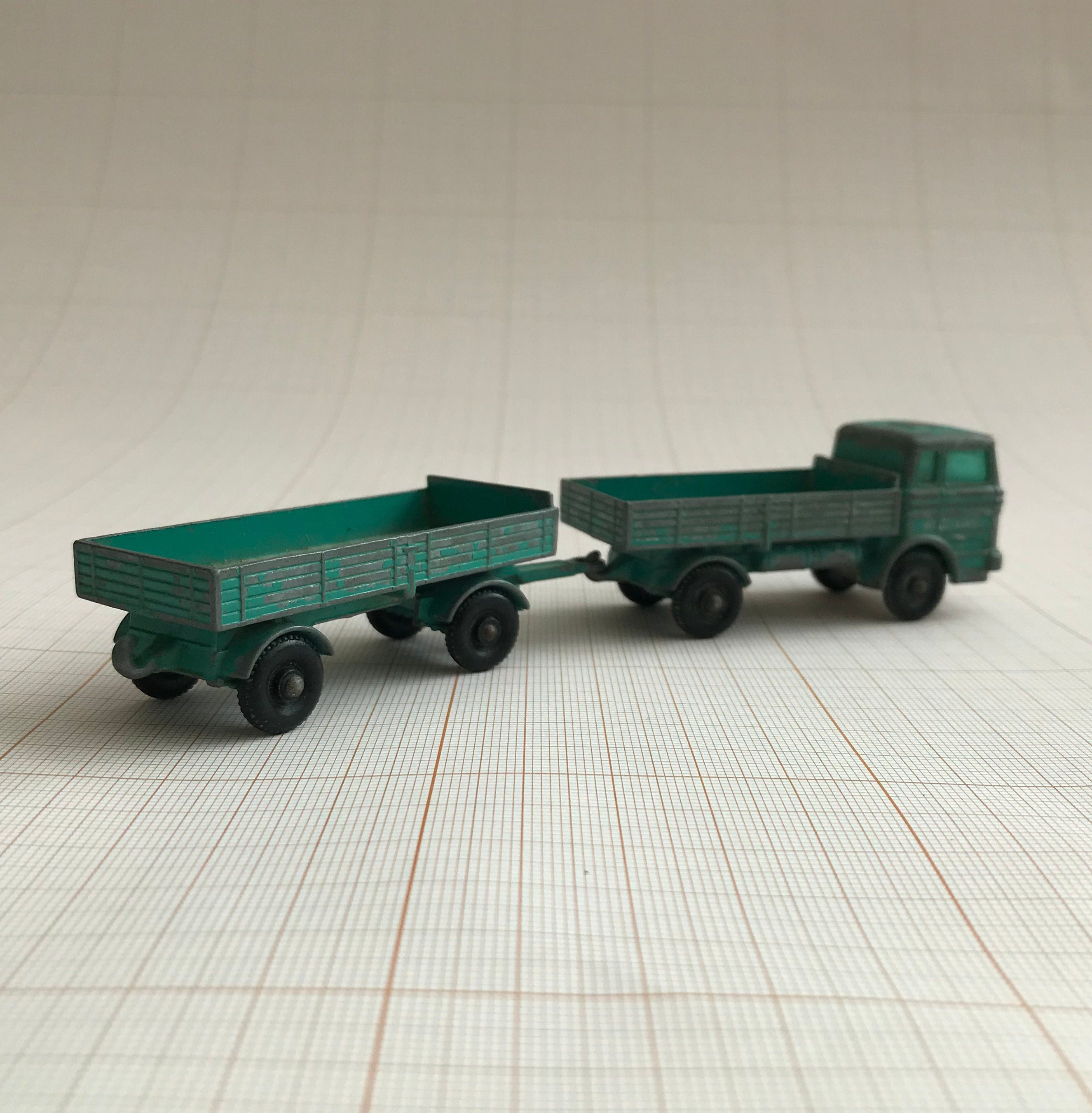 Vintage Lesley/Matchbox diecast Mercedes truck and trailer, Series No. 1, made in England, collectable car. Circa 1960s.