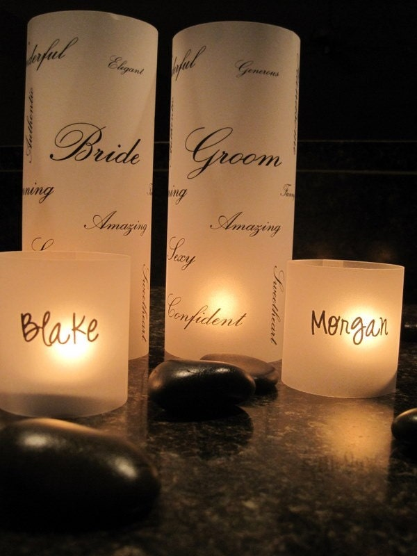 Sweetheart Table Place Card Luminarias for the Bride and Groom  - Head Table Markers