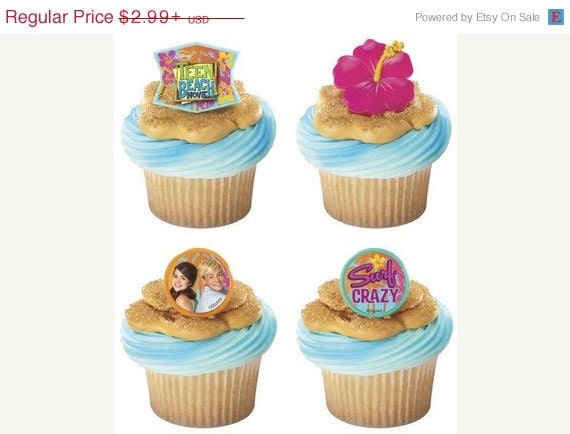 Teen beach movie cupcake rings by abirthdayplace on etsy