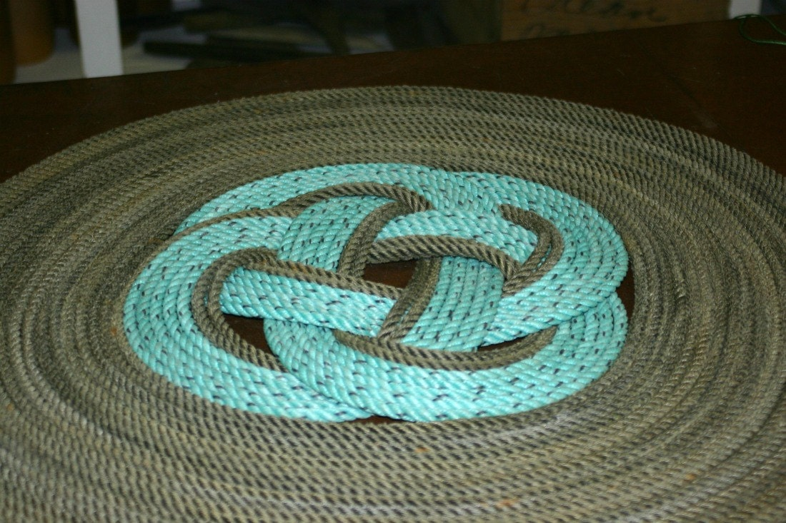 Round Rope Rug 2' Diameter Throw Rug or Wall Decor Nautical Decor