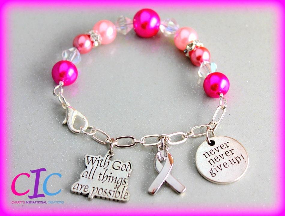 Pink Breast Cancer Awareness Scripture Half Chain Affirmation Bracelet