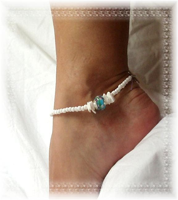 modern beachy tribal blue roses white anklet ankle by