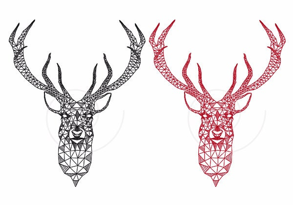 Christmas deer head with abstract geometric pattern, stag, reindeer ...