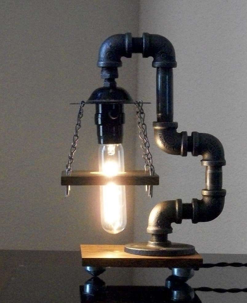 industrial art black pipe table desk lamp with reclaimed hardwood. Black Bedroom Furniture Sets. Home Design Ideas