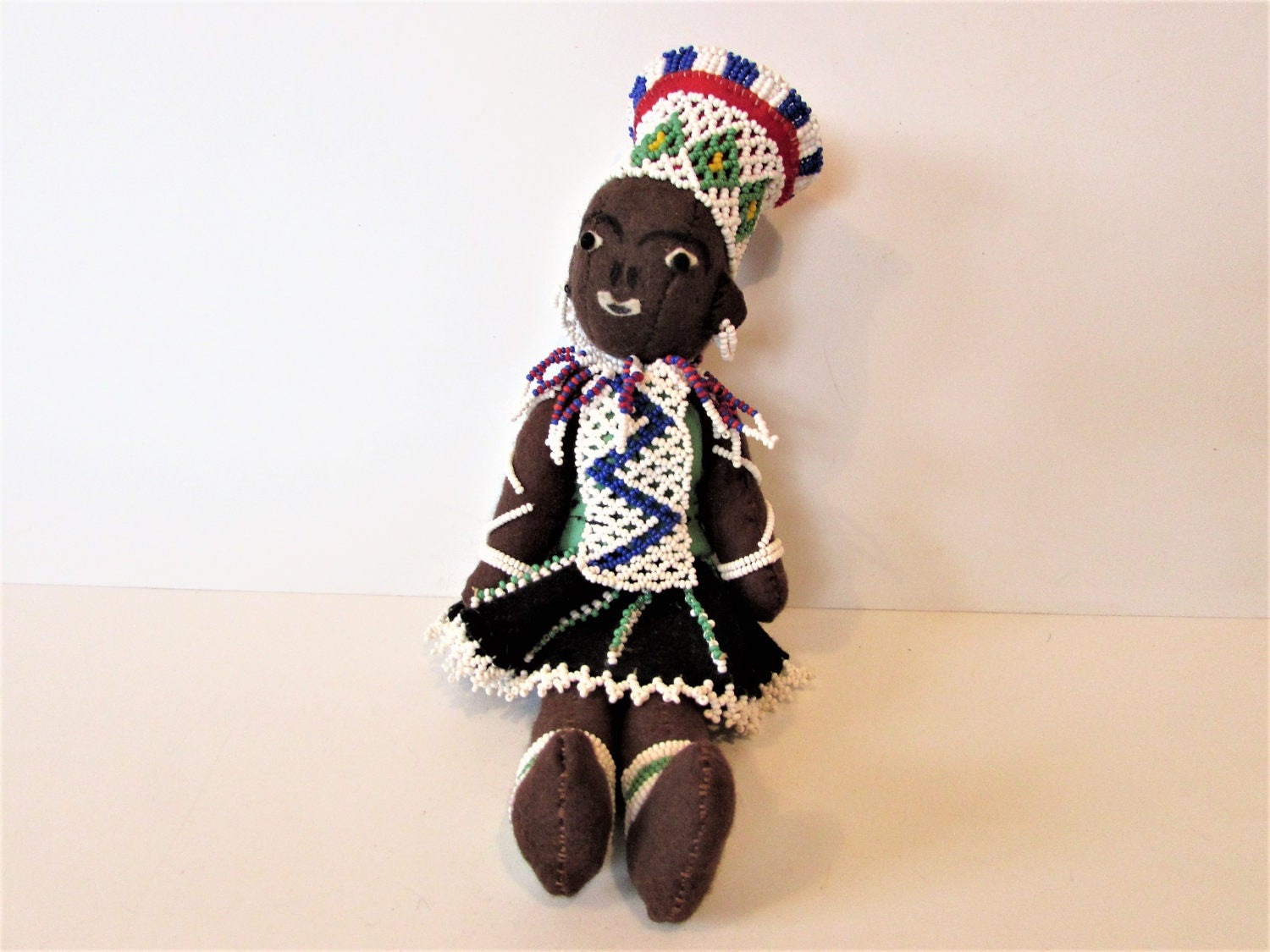 Unusual Beautiful Ethnic South African Cloth Doll With Beads.  MEMsArtShop.