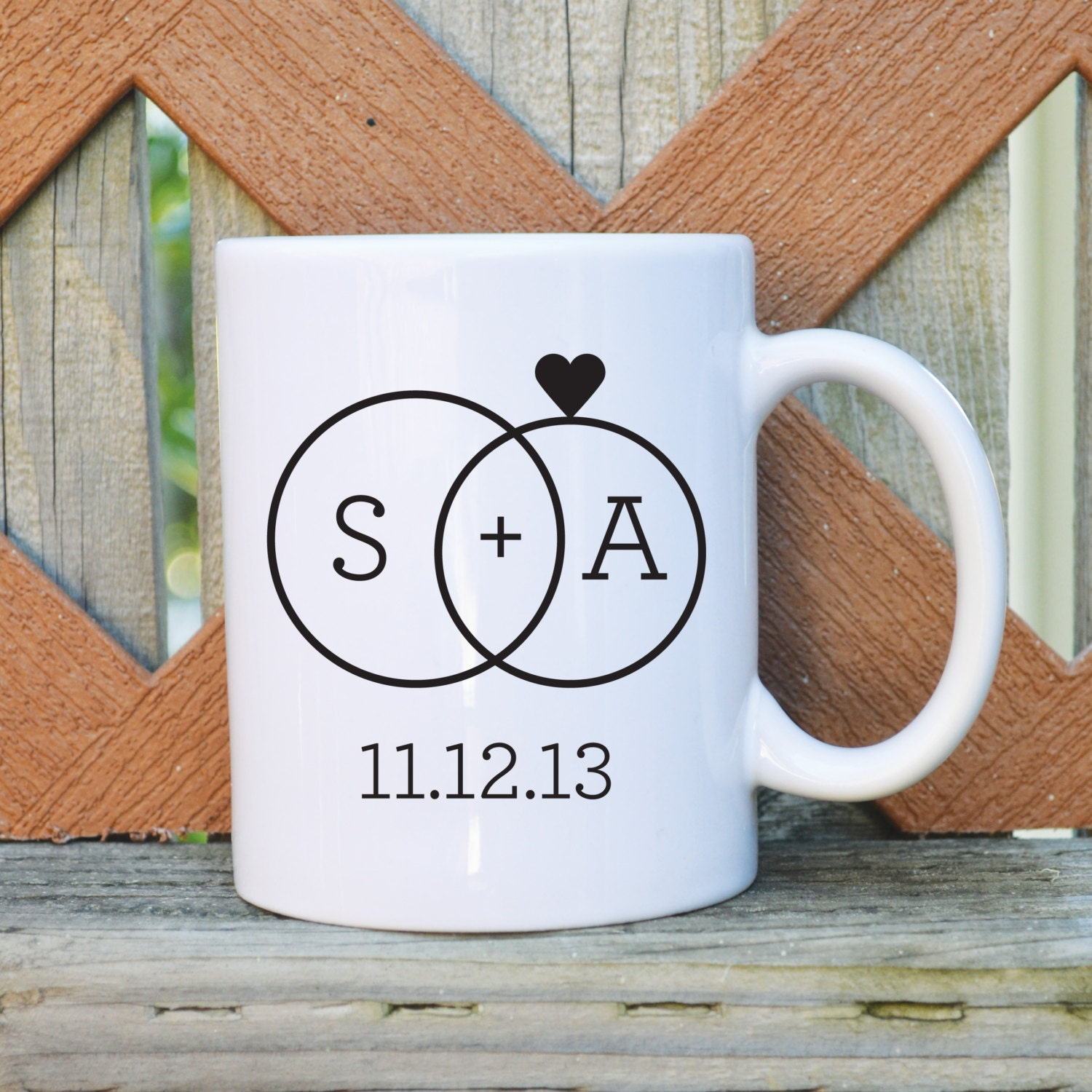 Customized Wedding Coffee Mugs : Custom Wedding Coffee Mug with Initials and date - Wedding Mug - 11 or ...