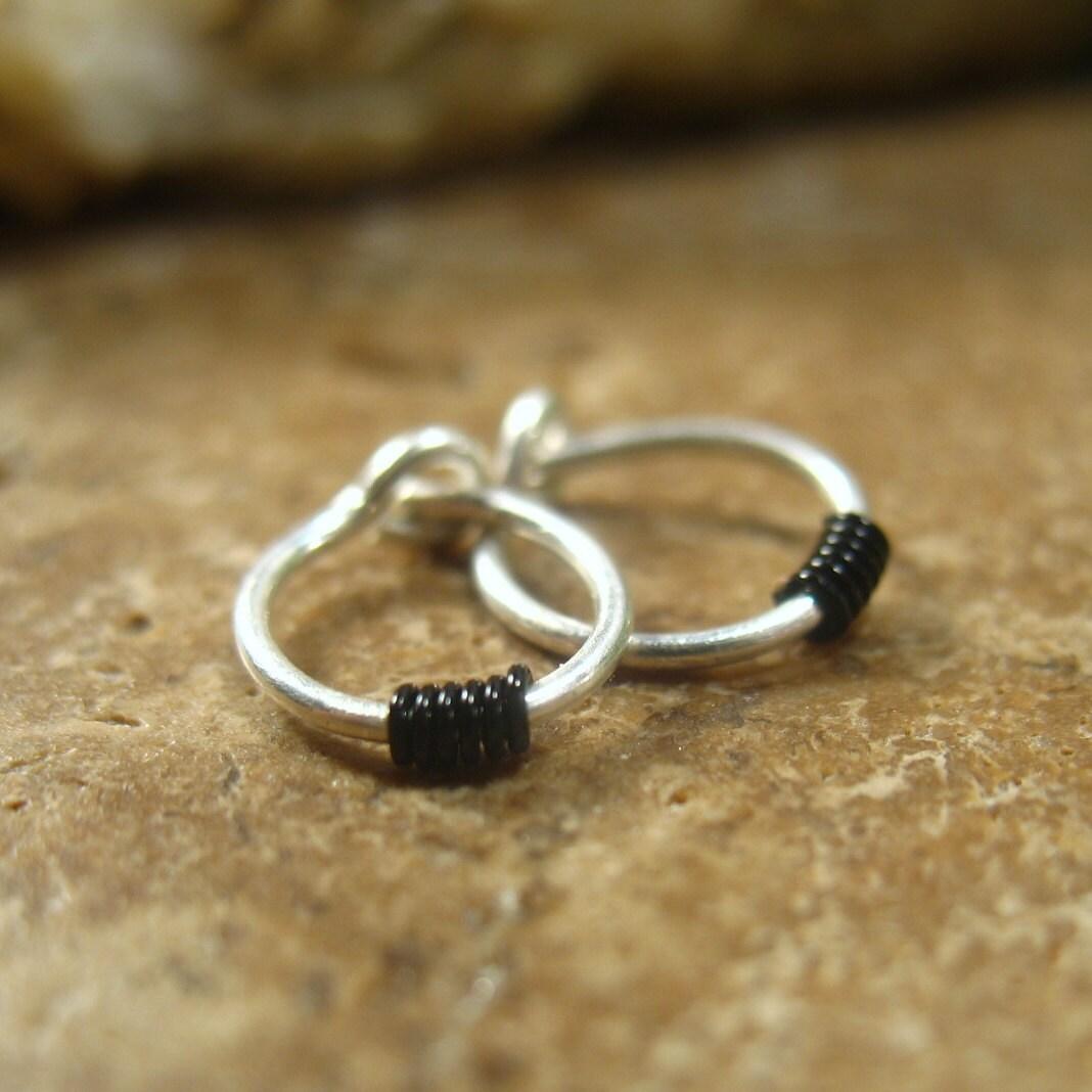 cartilage hoop earrings sterling silver with black by