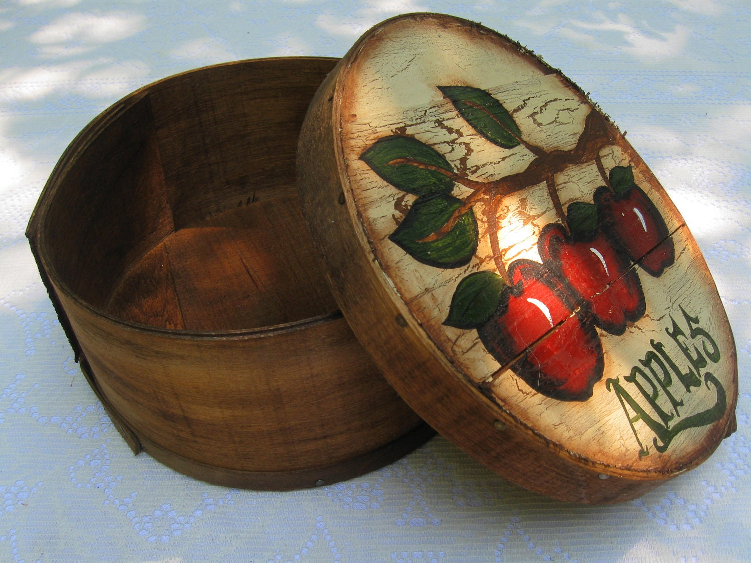 Vintage Handpainted Apple Box/ Basket- Home or Event Decoration - naturescallingjess