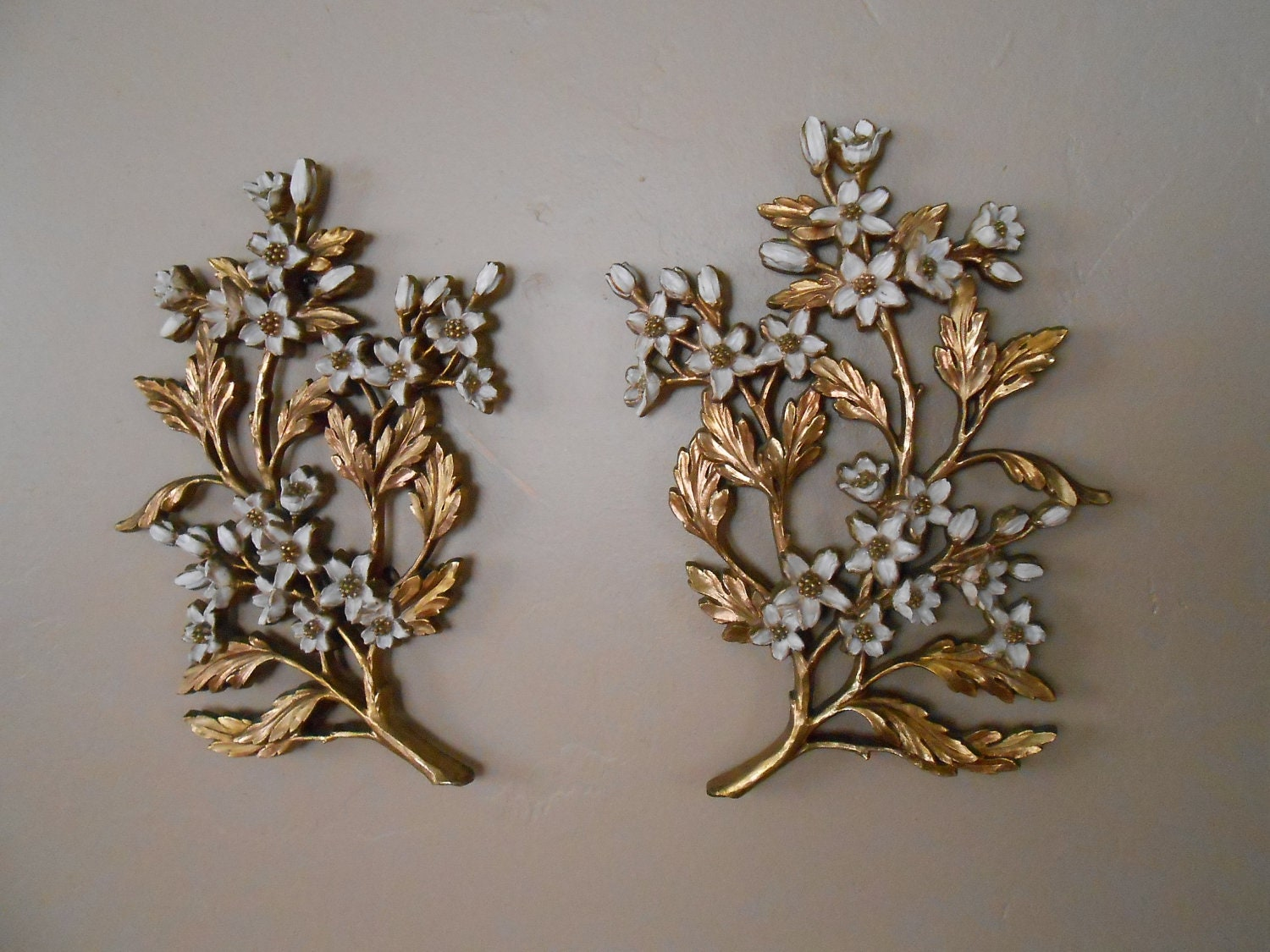 Etsy Gold Wall Decor : Syroco gold and white floral wall decor by vintagepeople