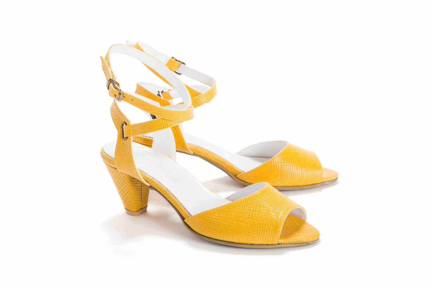 Womens Yellow Printed Leather Peep Toe High Heel Sandal with Ankle Strap // US sizes 5-10 - OliveThomasShoes