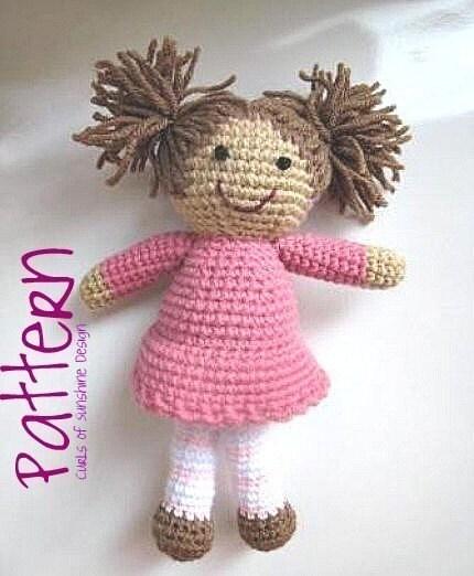 Crochet Pattern For Doll Hair : Crochet Girl Doll PDF Pattern Amigurumi Plush by ...