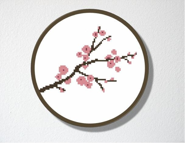 Counted Cross stitch Pattern PDF. Cherry Blossom. Includes easy beginner instructions.