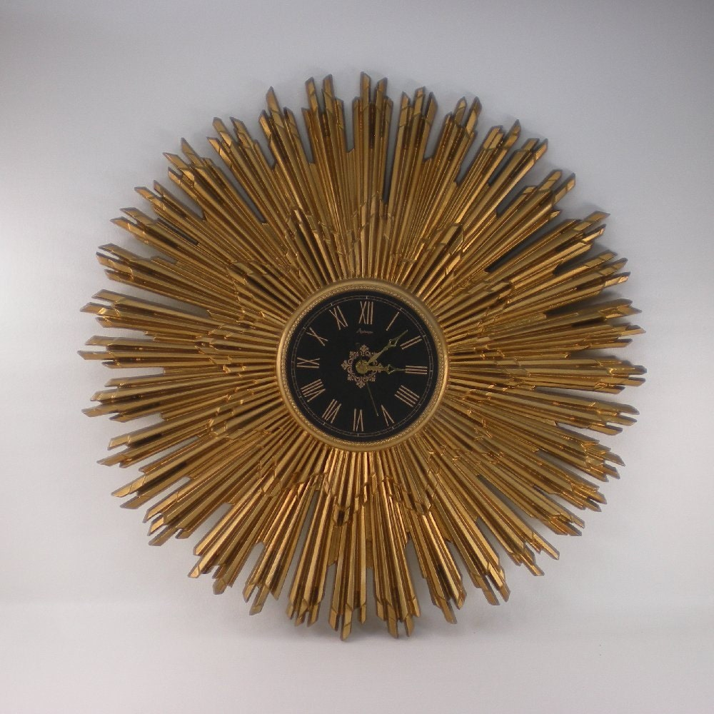 Starburst lamp etsy - Mid Century Burwood Starburst Gold Wall Clock 27 By