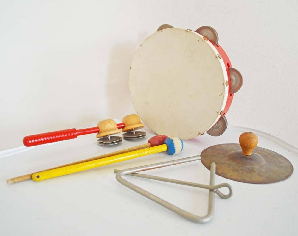 Vintage Musical Instruments Percussion Tambourine Cymbal Xylophone Mallets Triangle Jingle Stick Red White Yellow Werco Wood Metal - mothrasue
