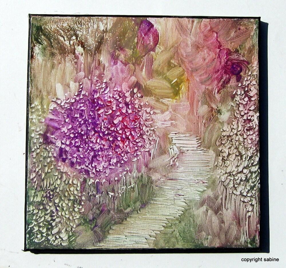 """Original 12x12 inch Impressionistic Monet Style Floral Encaustic Canvas Painting """"Garden Path"""" Lavender StudioSabine"""
