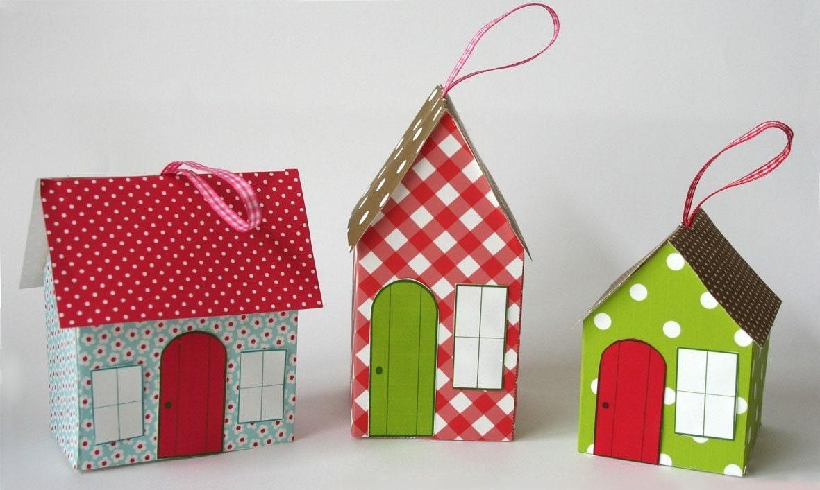 Paper House Ornament - Patchwork Cottages Template - chichiboulie