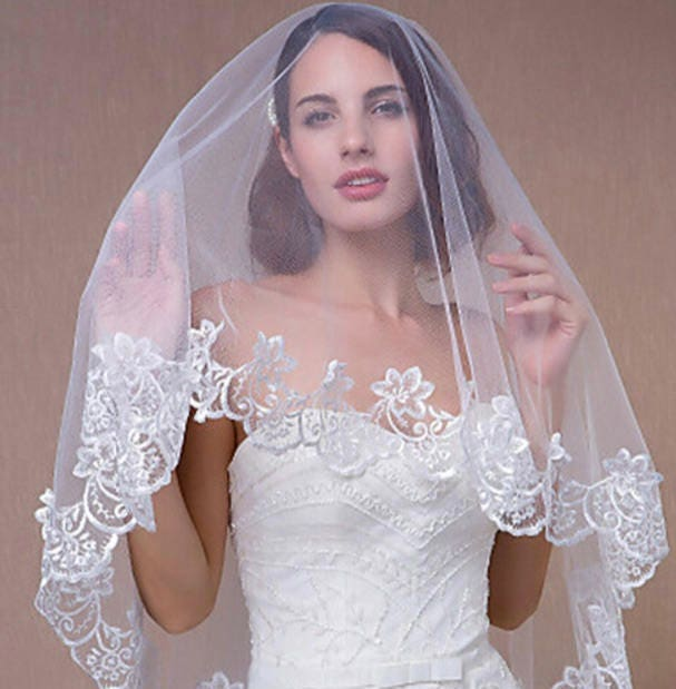 3m Long Ivory One Layer Lace Applique Lace Edge Bridal Veil Wedding Bridal Accessories Bridal Veils