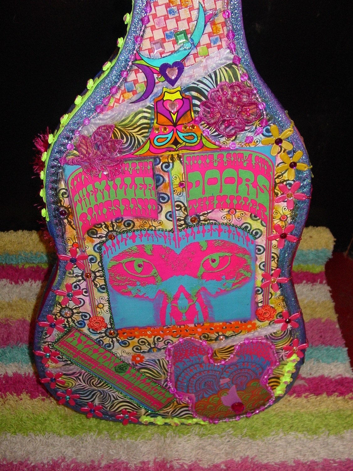 RECYCLED vintage guitar case retro 60s groovy flower power design