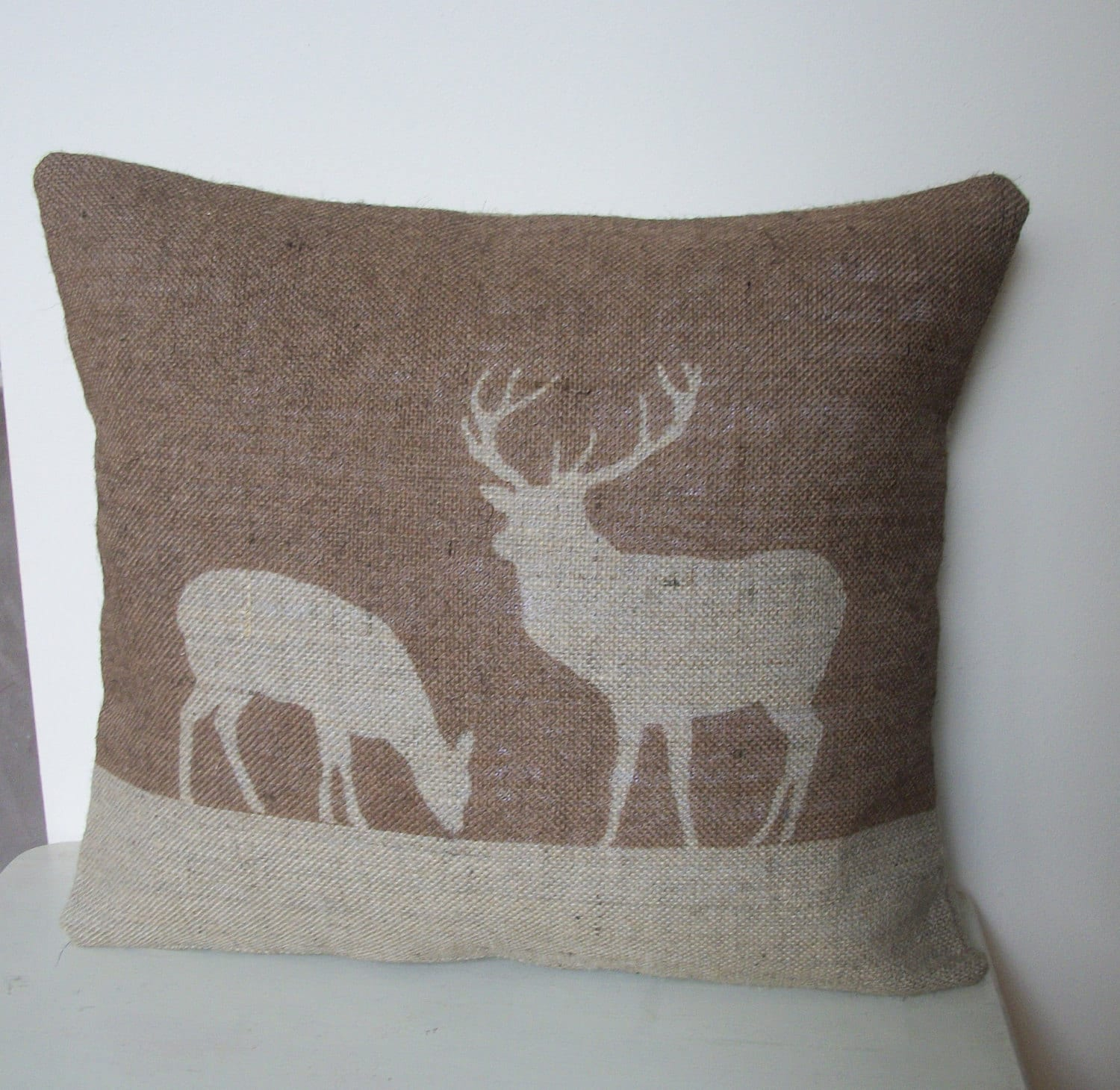 "20% OFF SALE - Stag & Deer Hessian Cushion in Chestnut Brown 14"" x 16"""