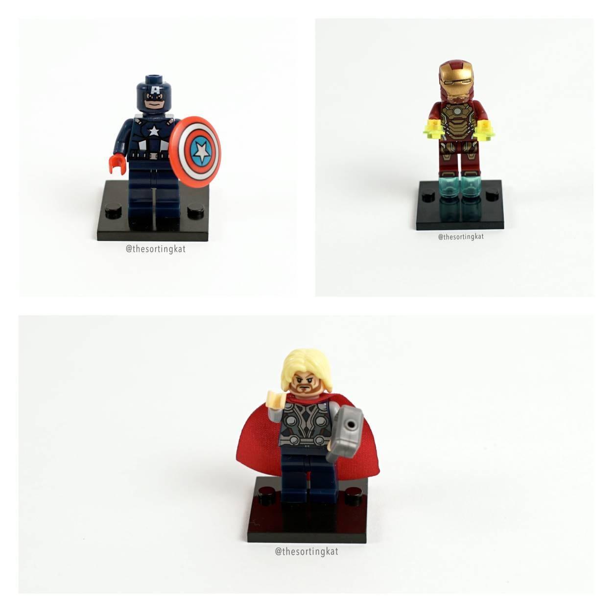 Lego Jewellery Rings  Captain America Iron Man Thor