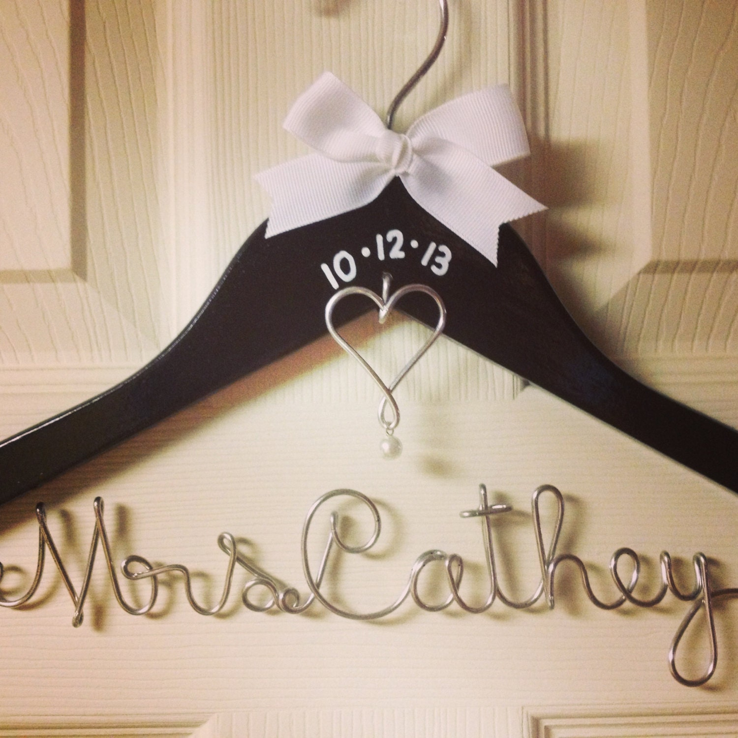 Personalized wire wedding dress hanger w by for Wedding dress personalized hanger