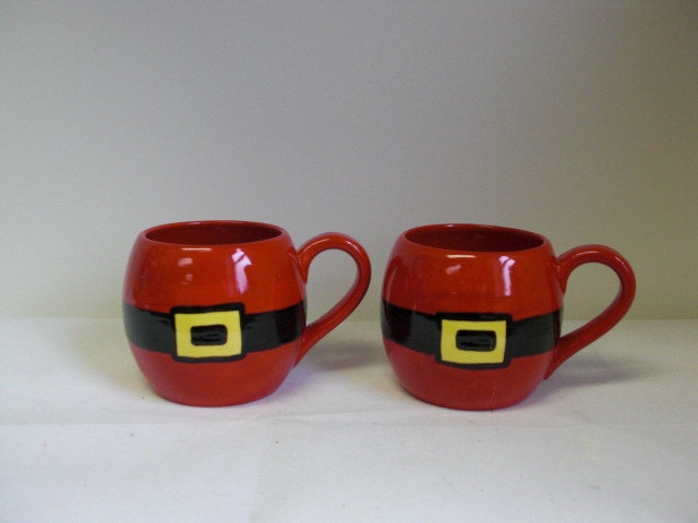 Whimsical Ceramic Large Round Santa Belly Mugs - Handpainted in Red and Black