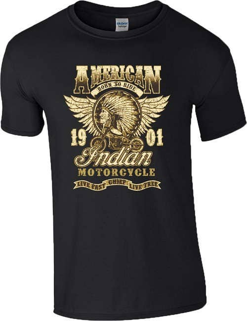 American Indian Motorcycle T Shirt Winged Born To Ride Biker Motorbike Vintage Mens Unisex All Sizes Available