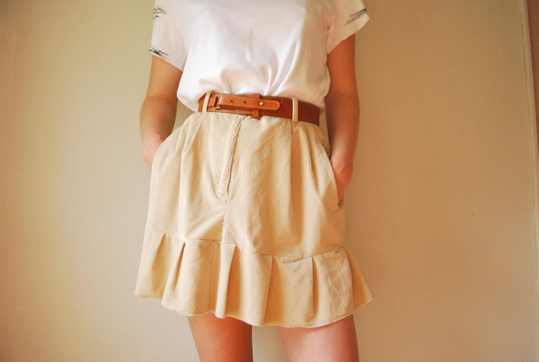 Creamy Corduroy High Waisted Ruffle Mini Skirt. Size Medium - searchandconstruct