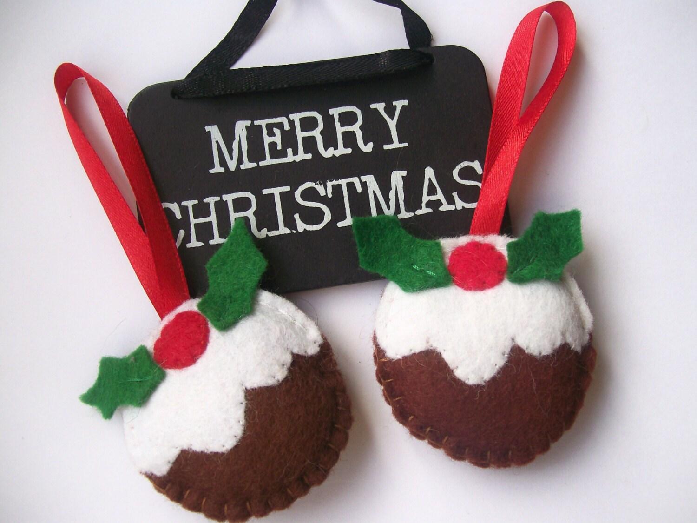 Christmas Pudding Felt Decorations Pair of Christmas Tree Ornaments Handmade Christmas