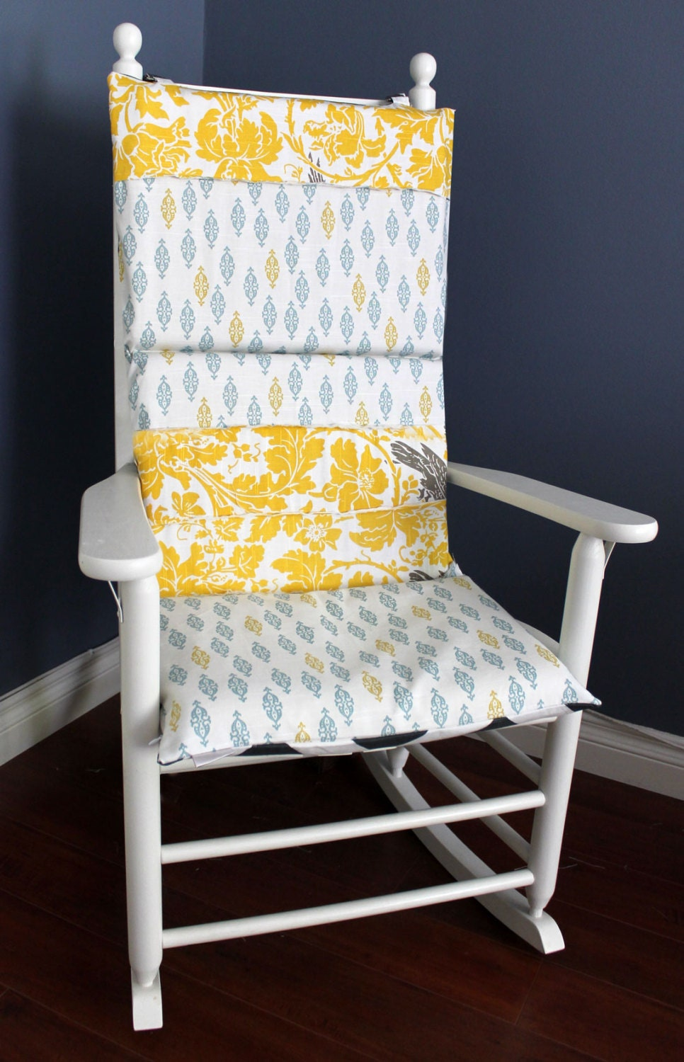 Shabby Chic Rocking Chair Pads : ON SALE Rocking Chair Cushion Navy Polka Dot by RockinCushions
