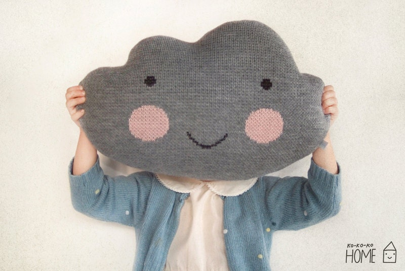 Knit Cloud Pillow :) GRAY - kokokoshop