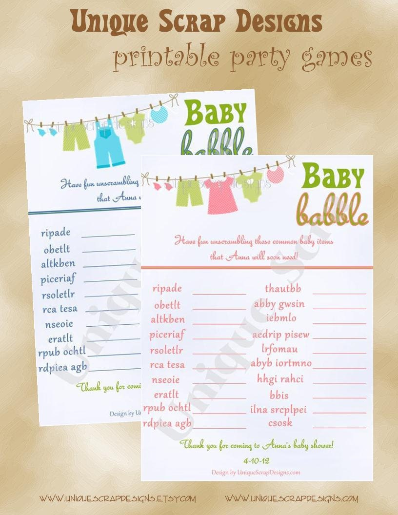 Baby Babble Baby Shower Party Game Style by UniqueScrapDesigns