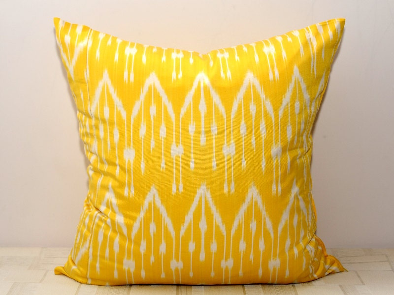 20x20, yellow ikat, ikat pillow cover, yellow cushion, yellow pillow case, yellow pillow, ikat - SilkWay