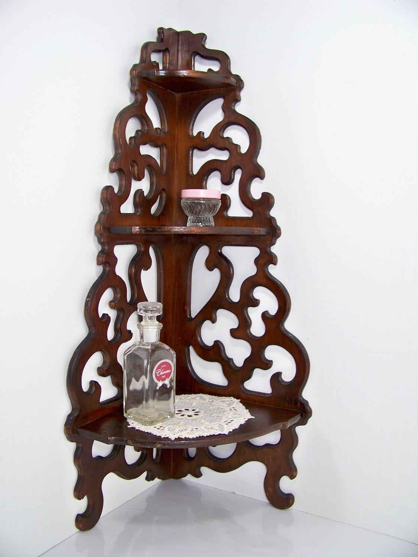 Antique Scrolled Wood Corner Shelf By Smakboutique On Etsy