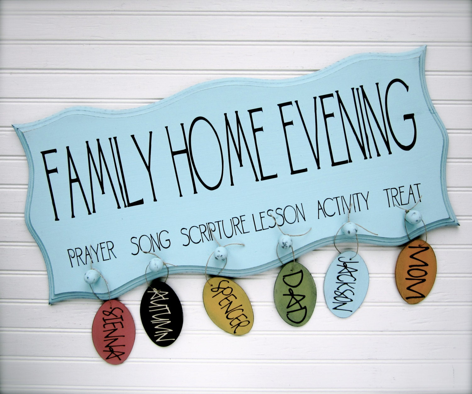 Family Home Evening Board.  FHE.  Scalloped Edge with Oval Tags.  Organize your family home evening. - doubledutydecor