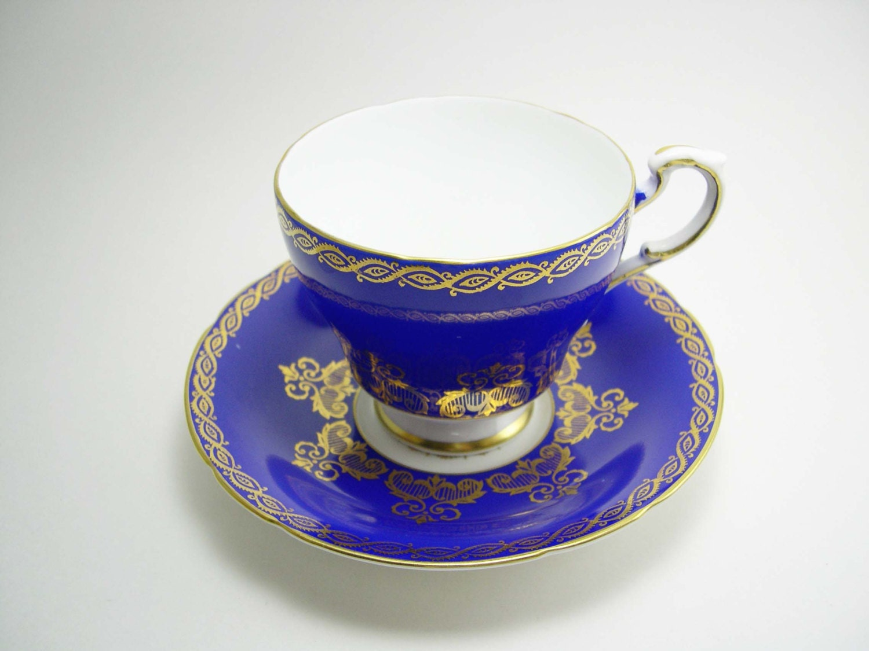 Antique Paragon  Cobalt  Blue Cup And Saucer . - AntiqueAndCrafts