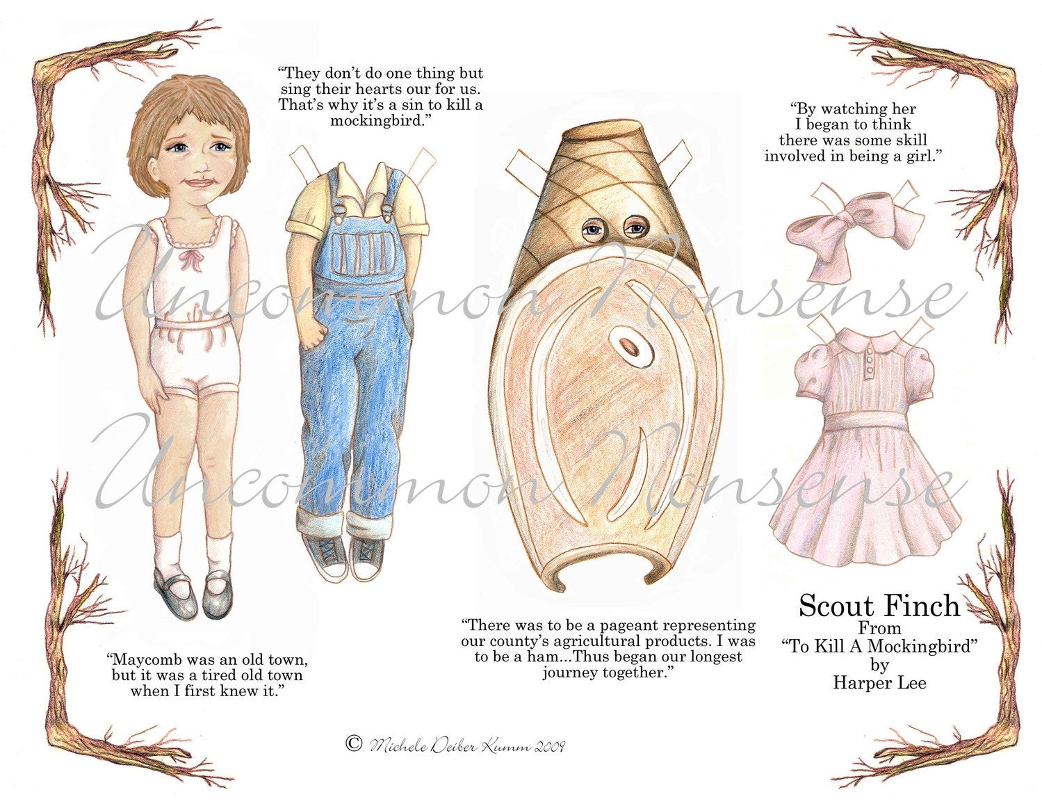 Scout Finch An Artist Paper Doll by UncommonNonsense on Etsy