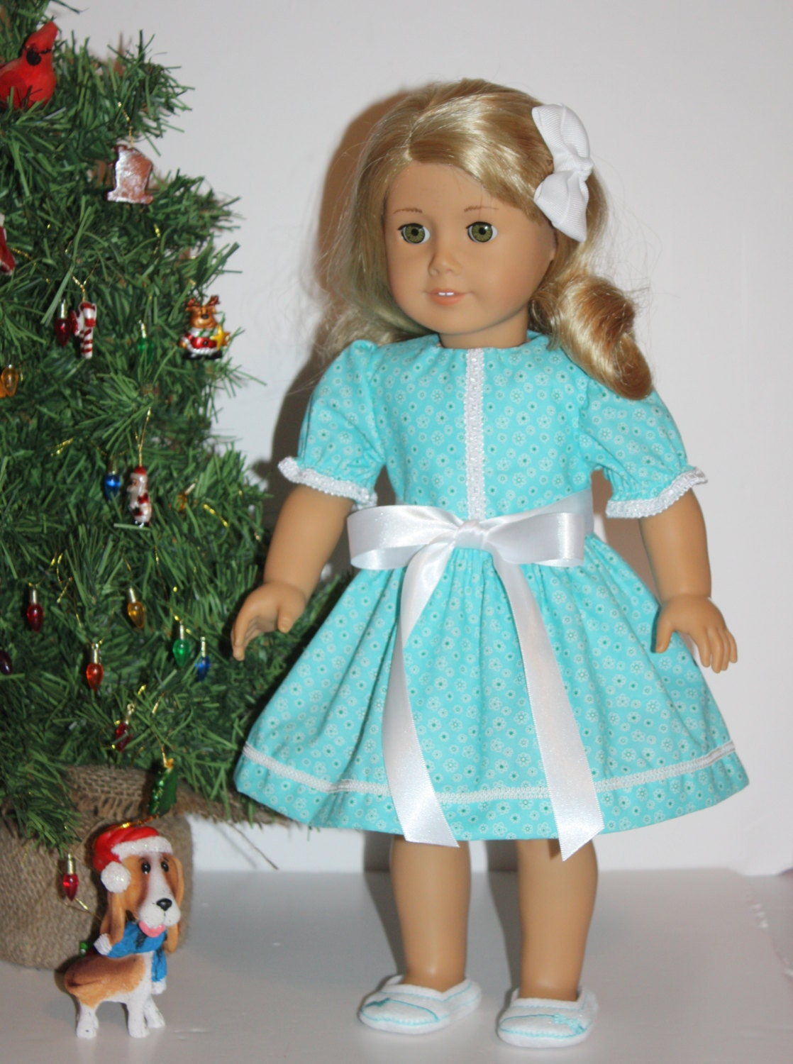 "SALE was 14.00  Doll Clothes for American Girl dolls Aqua Teal Dress Fits 18 inch Dolls, 18"" Doll Clothes Dress - FrogBlossoms"